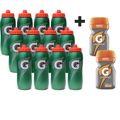 Bidon GATORADE 32oz 0,9 L, sada 12 ks + 2 ks GATORADE POWDER ORANGE