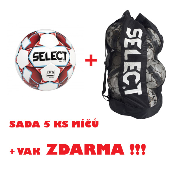 Míč SELECT FB MATCH, sada 5 ks +vak ZDARMA !!!