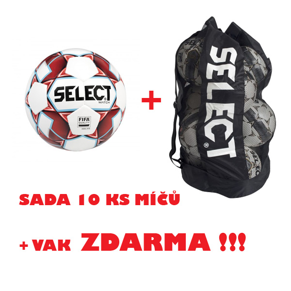 Míč SELECT FB MATCH, sada 10 ks +vak ZDARMA !!!