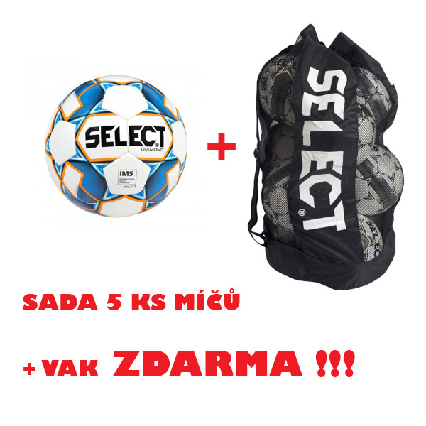 Míč SELECT FB DIAMOND,sada 5 ks + vak !!!